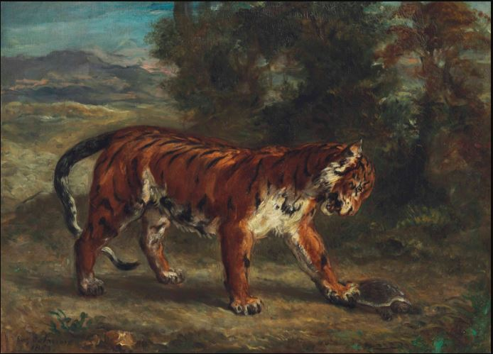 Delacroix Tiger Playing with a Tortoise