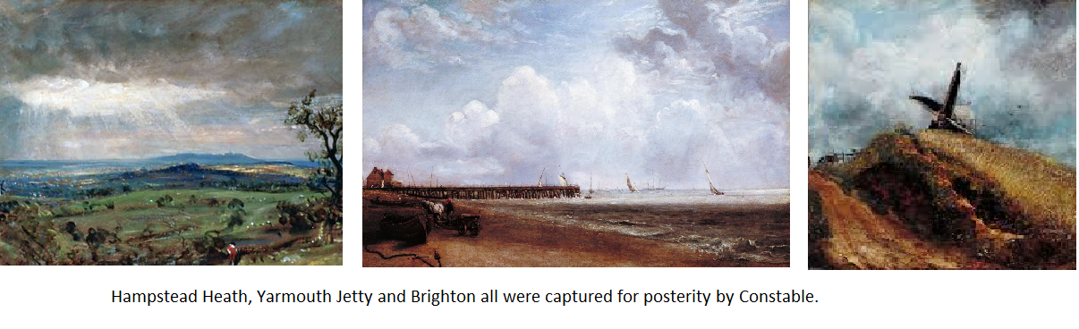 Hampstead heat, Yarmouth Jetty and Brighton by John Constable