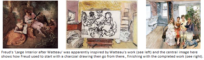 Lucien Freud inspiration from Watteau