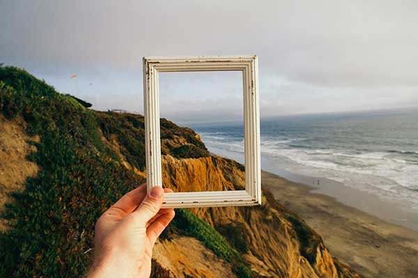 picture frame in sunset
