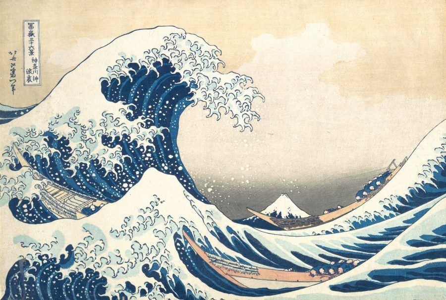 Hokusai's 'The Great Wave off Kanagawa' (1830-1832) with Mount Fuji behind